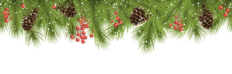 seamless christmas banner concept with fir branches and cones Wall mural
