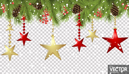seamless christmas stars concept with fir branches Wall mural