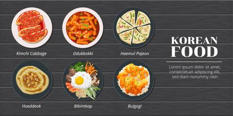 Haemul pajeon,ddukbokki,kimchi cabbage,hoeddeok,bibimbap,bulgogi korean food vector set collection graphic design