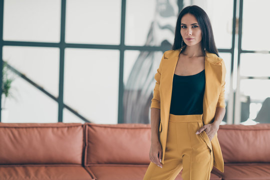Gorgeous executive manager girl start work as freelancer in home house like office feel calm strict serious wear formal wear luxurious outfit indoors
