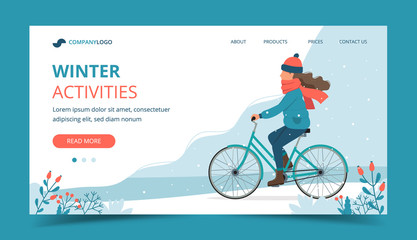 Girl riding bike in the park in winter. Landing page template. Cute vector illustration in flat style.