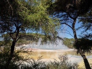 The Champagne Pools in Rotorua spew out hot smoke.This is a popular tourist destination