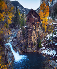 Historic wooden powerhouse called the Crystal Mill in Colorado