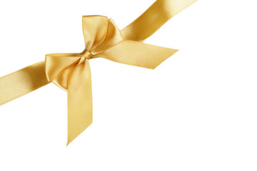 Christmas gold ribbon with bow isolated on white