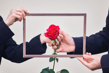 man and woman hold hands. guy and girl are holding a red rose in a photo frame. love and relationship concept