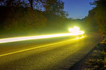 Headlight Trails on the Night Road