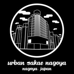 Circle icon line Urban Sakae Nagoya Japan. vector illustration