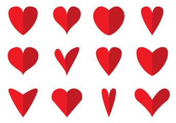 Heart Shape Icons Vector Set.