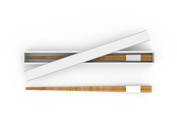 Chopsticks with a chopstick box, mock up template on isolated white background, 3d illustration