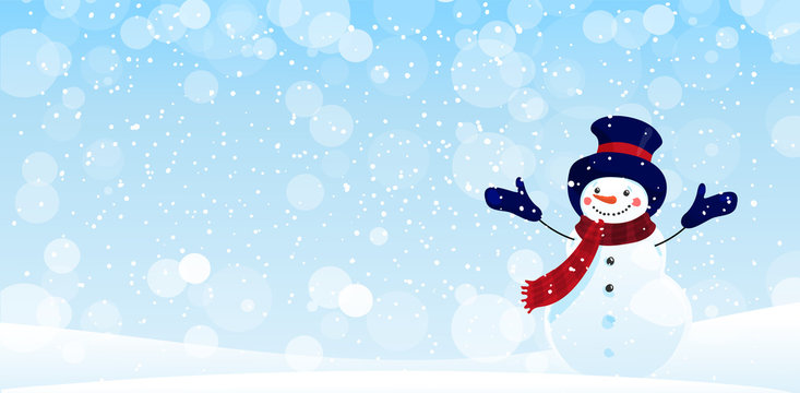 Merry Christmas greeting card with copy space. New Year banner for greetings and design. Cute snowman on a winter background. Happy snowman character in a hat, scarf and mittens on a background of