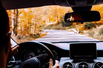 Portrait of mid adult driving a car through forest on asphalt road