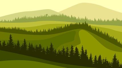Foto op Plexiglas Pistache Horizontal illustration of meadow hills and wavy coniferous forest tops.