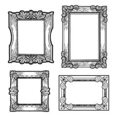 Vintage picture frames set sketch engraving vector illustration. T-shirt apparel print design. Scratch board imitation. Black and white hand drawn image.