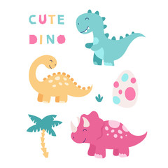 Custom vertical slats with your photo Set of cute isolated dinosaurs. Triceratops, brontosaurus, tyrannosaurus, egg, tropical leaves. Vector illustration for children on a white background.