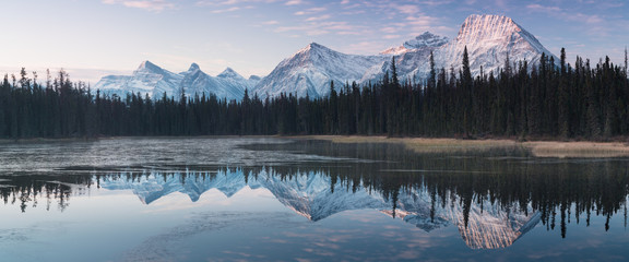 Poster Mountains Almost nearly perfect reflection of the Rocky mountains in the Bow River. Near Canmore, Alberta Canada. Winter season is coming. Bear country. Beautiful landscape background concept.