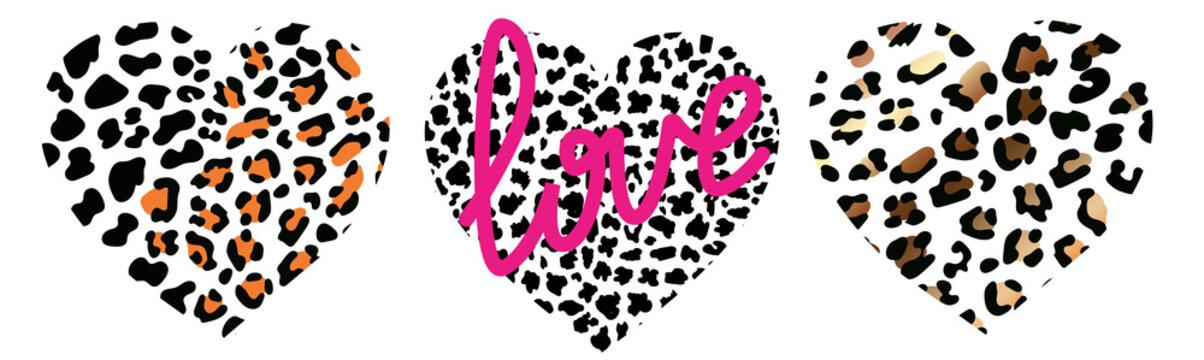 set of wild heart leopard. Fashion Vector illustration heart shape.