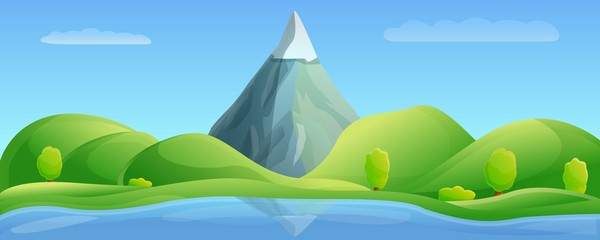 Landscape mountain lake concept banner. Cartoon illustration of landscape mountain lake vector concept banner for web design