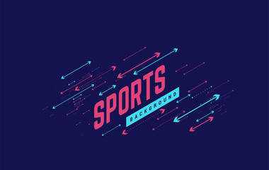 Sports geometric background vector illustration with arrows. Can be use for sport news, poster, presentation. Fotoväggar