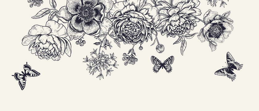 Luxurious decoration. Garland of luxurious blooming peonies, butterflies and birds.