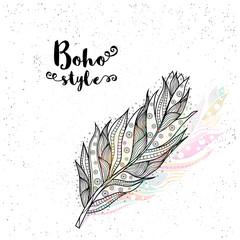 Boho style hand drawn feather design.