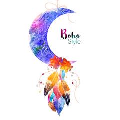 Foto auf AluDibond Boho-Stil Boho style Moon with colorful ethnic feathers.