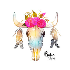 Colorful bull's head in boho style.