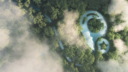 Eco travelling concept. 3d rendering of dense misty amazonian rainforest with map point sign in a shape of pond.