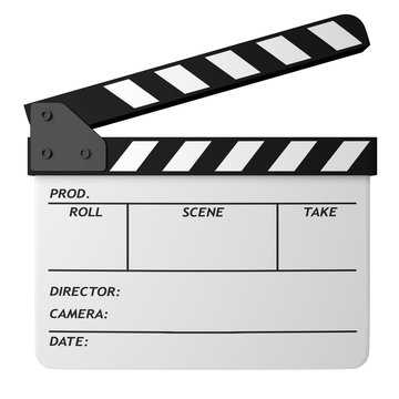 Open white clapper board isolated on white