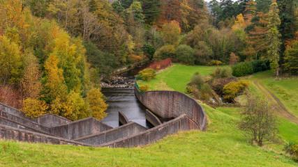Autumn landscape at the Bohernabreena Waterworks, upper reservoir spillway in Dublin, Ireland.