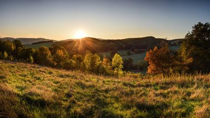 Canvas Prints Pale violet Autumn sunset landscape at Lower Silesia/Poland