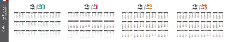 Calendrier français 2020, 2021, 2022 et 2023 Fotobehang