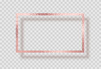 Gold rose foil smudge frame. Pink sparkle glitter texture decor isolated on transparent background. Vector shiny golden metal border pattern.