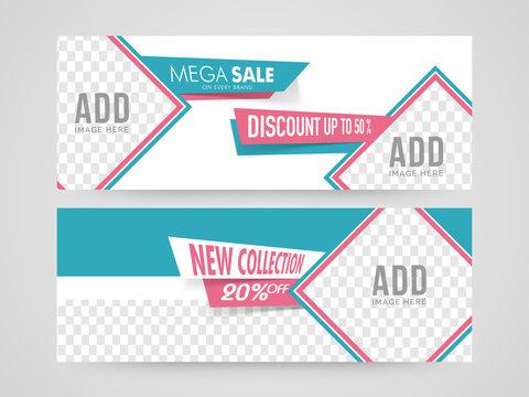 Mega Sale website headers design.