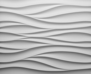 Photo sur Aluminium Abstract wave White panel in the form of waves.3d render illustration. Interior wall panel pattern. White seamless texture. - Illustration