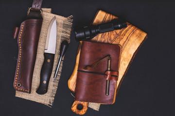 Bushcraft equipments knife stock photo