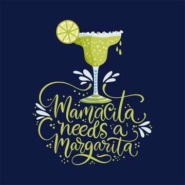 Cinco de mayo vector flat cartoon card. Ornate festive Mexican illustration with lime alcohol drink and lettering quote - Mamacita needs a margarita. For Cinco de mayo and girl party.
