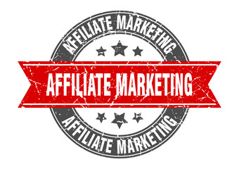 affiliate marketing round stamp with red ribbon. affiliate marketing