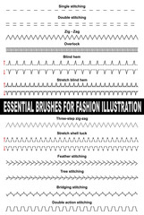 Brushes for fashion illustration. Single stitch, double stitch, zig zag, overlock, blind hem, chain, feather, three-step. Colorable and customizable brushes.