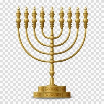 Gold colored Hanukkah menorah, nine-branched candelabrum. Vector illustration.