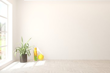 Empty room in white color with home plant ant colorful vases. Scandinavian interior design. 3D illustration
