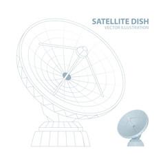 Satellite dish. Mesh line and realistic radio telescope vector illustrations set. Parabolic satellite dish. Part of set.