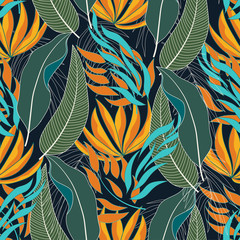 Fashionable seamless tropical pattern with bright yellow and blue leaves and plants on white background.  Vector design. Jungle print. Floral background.  Vintage pattern. Exotic jungle wallpaper.