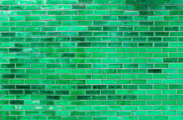 Abstract green brick wall texture background, blank brick wall patter with green filter background