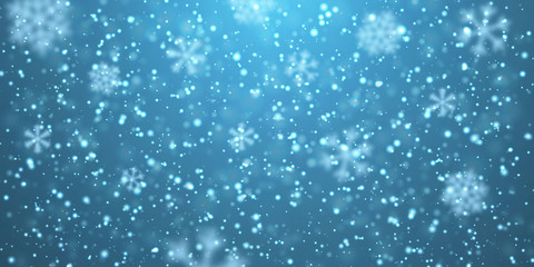 Christmas snow. Falling snowflakes on blue background. Snowfall. Vector illustration Wall mural