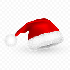 Red Santa Claus hat isolated on transparent background. Gradient mesh Santa Claus cap with fur. Vector illustration