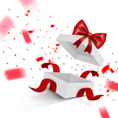 Fly White Open Gift Box With Ribbon On White