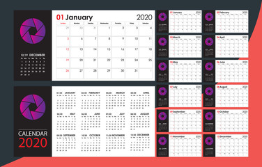 Calendar 2020. Full 12 month cards. Starts Sunday. Copy, free place for your photo, graphic or company name. Wall, office, desk, home. Full printable.