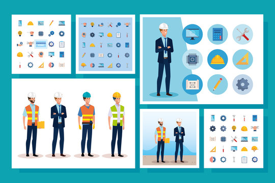 engineer men with set icons working vector illustration design