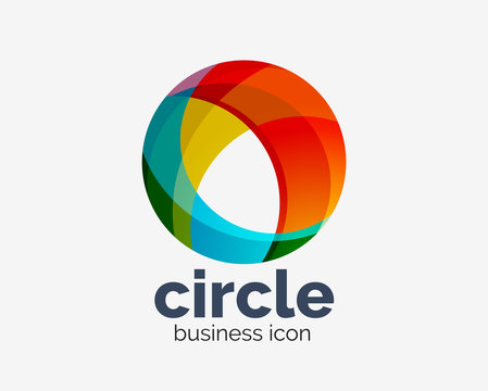 Circle abstract design logotype, round vector logo design template, internet icon with twist or spiral effect