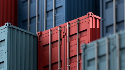 Stack of containers box, Cargo freight ship for import export logistics